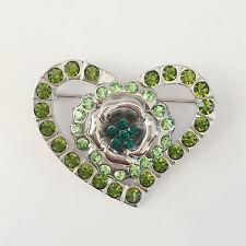 Brooch Pendant Charm Pin Br1145 New Heart Romantic Valentine Green-Gold Crystal