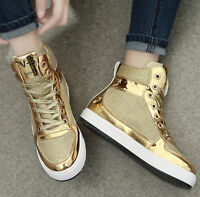 Ladies Fashion Patent Leather Lace Up Flat Athetic Sneakers High Top Shoes Gold