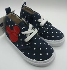 BABY GAP Disney Mickey Mouse Hi-Top Sneakers w Zip and Laces sz 7 NWT Navy Polka