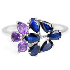 Sterling Silver 925 Natural Blue Sapphire & Amethyst Ring Size R1/2  (US 9)