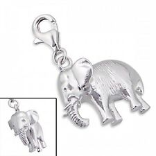 Sterling Silver Elephant 3D Clip On Charm 925 with Gift Box