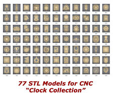 """NEW! """"Clock Collection"""" - 77 3d STL Models for CNC and 3d printers"""