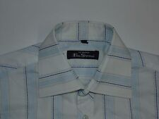 Ben Sherman blue spotted stripes short sleeves shirt Medium mens, size 2 - S4976