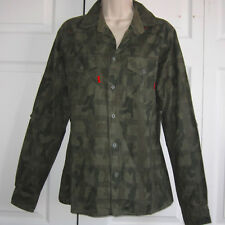 New Rue21 Carbon Men's Sm Green Camouflage Slim Fit Button-Up Long Sleeve Shirt
