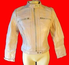 PINK leather biker jacket small new cafe motorcycle scooter racing stripe