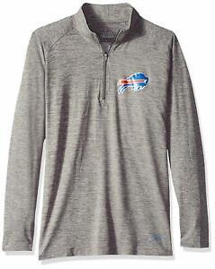 Zubaz NFL Football Women's Buffalo Bills Tonal Gray Quarter Zip Sweatshirt