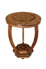 Teak Wood Bone Inlay Floral Design BedSide Round Table