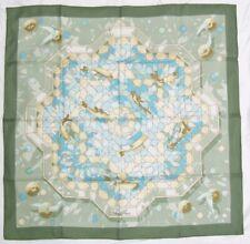"""New Hermes Paris """"Sous les Orangers"""" 90cm  35"""" Carre Multi Green Silk Scarf"""