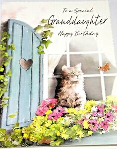 Granddaughter Birthday Card by Heartstrings Cards. Cat/Butterfly Theme.