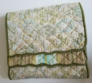 """Waverly Quilted Reversible Table Runner green yellow Paisley Striped 13.5"""" x 67"""""""