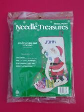 New listing Htf! New Needle Treasures Santa's Check List Christmas Stocking Needlepoint Kit