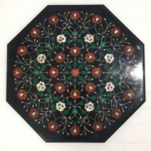 "24"" marble Table Top semi precious stones Inlay pietra dura handmade"