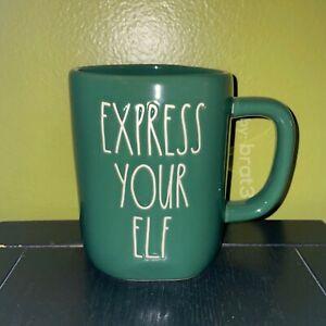 """New RAE DUNN Holiday Christmas LL """"EXPRESS YOUR ELF"""" Green Mug By Magenta"""