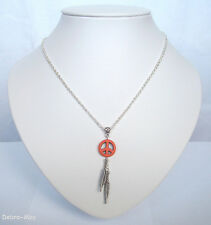 "Orange Stone Peace Dreamcatcher Feathers Pendant 18"" Chain Necklace in Gift Bag"