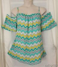Tacera Greys Turquoise Yellow Chevron Patterns Cold Shoulder Flirty Top 3X NWT