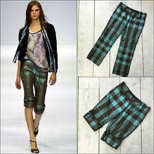 Burberry Prorsum Runway Women Lurex Check Cotton Cropped Trousers Shorts Size S