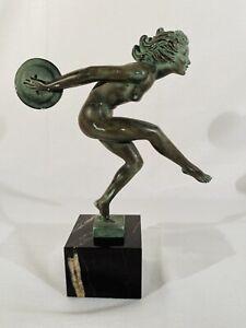 "Gracia by Max Le Verrier French Art Deco Bronze Sculpture 9.5"""