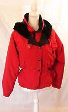 Rainier 6 Women's Ski Coat Jacket Red Black Faux Fur Collar