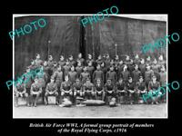 OLD LARGE HISTORIC PHOTO BRITISH AIR FORCE WWI, ROYAL FLYING CORPS GROUP c1915