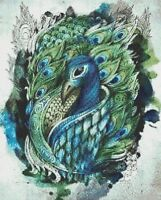 PEACOCK # 9 - CROSS STITCH CHART