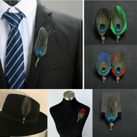 Men's' Handmade Peacock Feather Shirt Suit Hat Lapel Pin Brooch Accessories Hot