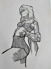 Original Art dibujo a tinta tecnica de entramado lamina original artista MreC