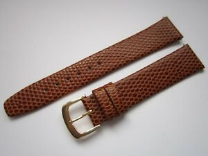 A Gents Quality 18mm Tan Lizard Grain Leather Watch Strap Inc Gilt Buckle & Pins