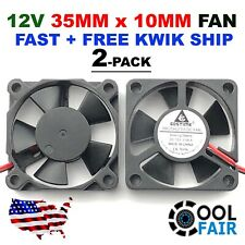 35mm X 10mm New Brushless Case Fan 12V 5.3CFM 2pin PC CPU Cooling 3510s 2-Pack