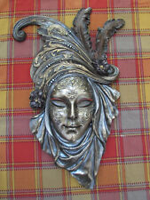Venetian Mask Wall Plaque ~ Poppy ~ Cold Cast Bronze