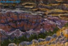 "South Dakota Badlands   acrylic painting approx 5x7"" in 8x10  Julie Miscera"