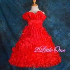 Red Embossed Flower Girl Organza Dress Wedding Pageant Party Kid Size 7-8 FG132