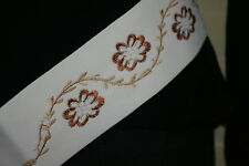 Ladies belt embroidered suede like belts white one size faux suede