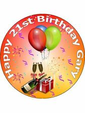 """7.5"""" 21ST BIRTHDAY PARTY CAKE TOPPERS DECORATIONS PERSONALISED ON RICE PAPER"""