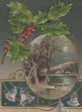 Christmas 1907-1915 Embossed Holly, Silver Bells, River Moon 3.5x5.5 ~X21