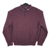 NWT J Crew Mens Red Harbor Cotton Merino Blend Long Sleeve Polo Shirt Size XL