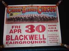 Carson & Barnes Circus Poster Biggest Big Top 5 Ring Blackwell OK Vintage Zoo
