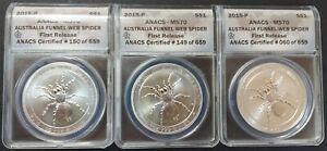 Australia 2015 Spider 1 Oz. 999 ANACS MS70 1st Release, 3 Pieces