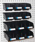 Pegboard Bins - 12 Pk Kit Hooks to Peg Board - (6 Med & 6 Lg Bin) - Part Storage