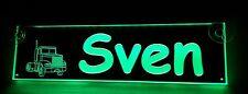 Trucker LKW Namensschild,LED beleuchtet, Sven oder Wunschname,BLENDFREI, 12V-24V