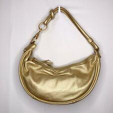 Fossil Metallic Gold Pebbled Leather Tassel Hobo Shoulder Bag Purse Zipper