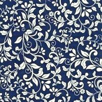 NAVY BLUE WITH IVORY FLORAL DESIGN FROM JOHN LOUDEN - 100%COTTON FABRIC FQ'S