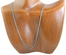 Women's 3 Strand Singapore Link Necklace 14k SOLID White Gold 18 in Long
