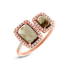 2.31TCW 14K Rose Gold Natural Cushion Brown Topaz Diamond Open Cocktail Ring