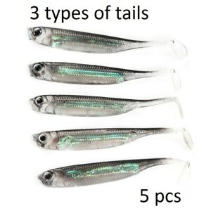 Soft Silicone Lure Life Like Real Fish Tails For Jigging Fishing Bait Pike Bass