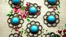 Flor Azul 2 Bronze Charms Jewellery Supplies C1153
