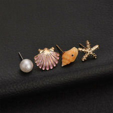Women Shell Simulated Pearl Conch Starfish Stud Earrings Set Ear Stud Jewelry