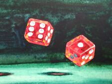 Watercolor Panting Casino Las Vegas Game Playing Red Dice ACEO Art