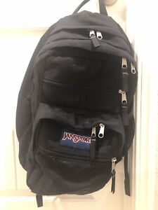 USED Mens Jansport Backpack Black Rare Pockets Luggage Zipper Back School Luxury