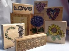 Rubber Stampede Flowers Heart Wreaths Lace Angels Love hydrangea Stamp Lot of 8