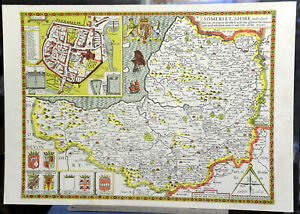 """Somersetshire coloured map with Bath Rolled old print John Speed 1610 16"""" x 23"""""""